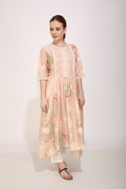 Desert Rose Tunic With Schiffli Yoke