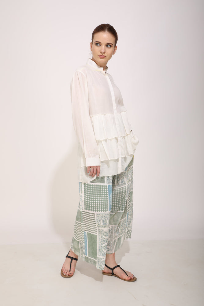 Ivory Waterfall Top With Printed Pants