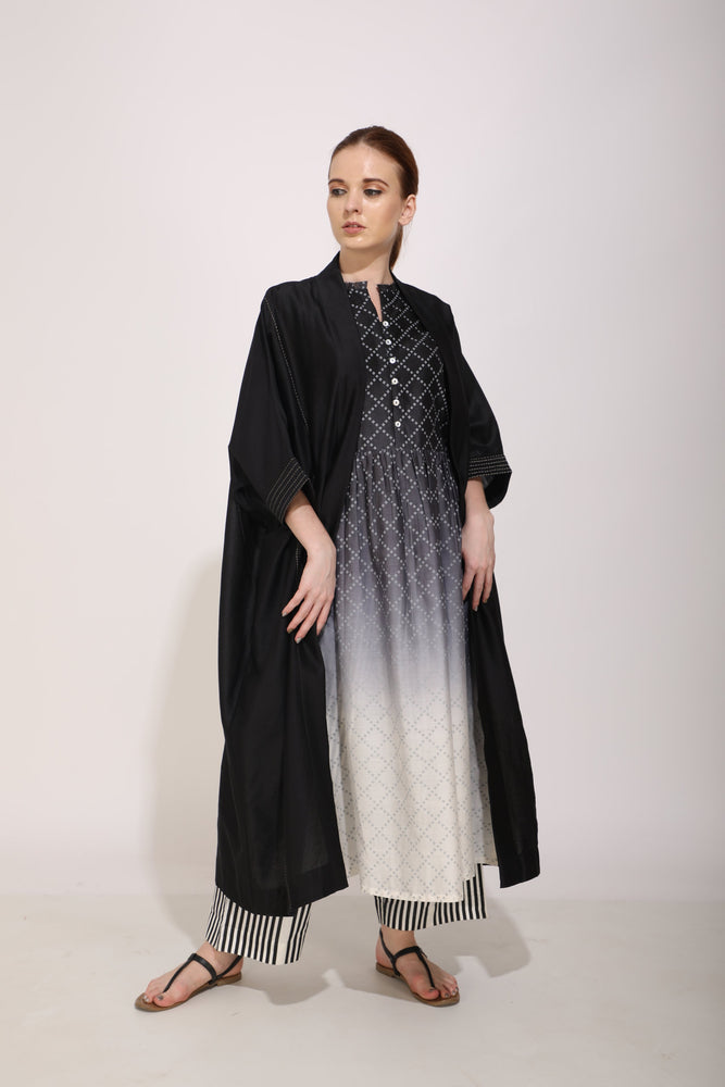 Ombre And Bandhani Print Tunic With Overlay