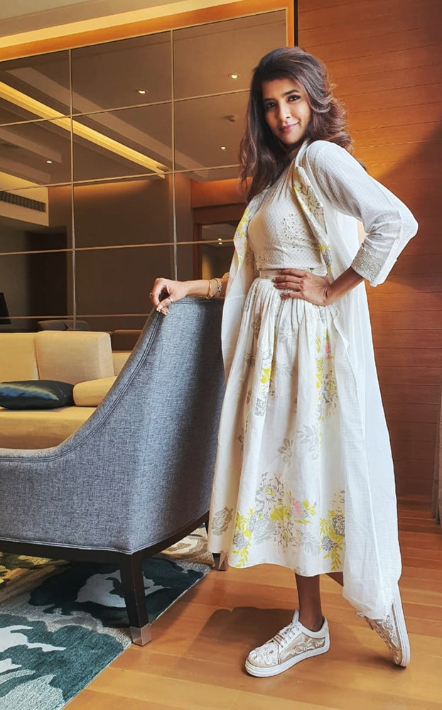 Lakshmi Manchu | Ivory Jacket With Top And Roses Printed Skirt
