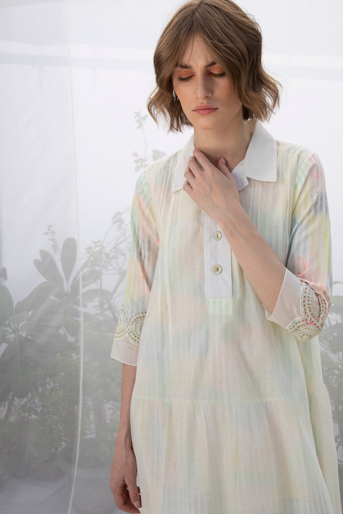 Stripes Hand Block Printed Double Layer Tunic With Embroidery On Sleeves