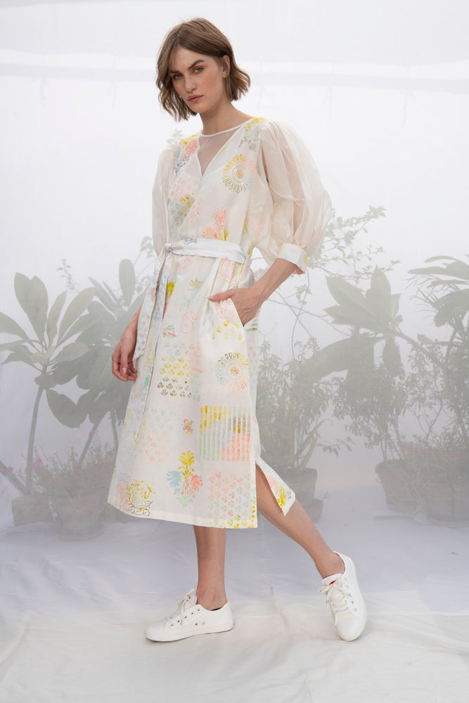 Ivory Hand Block Printed Flare Sleeve Dress