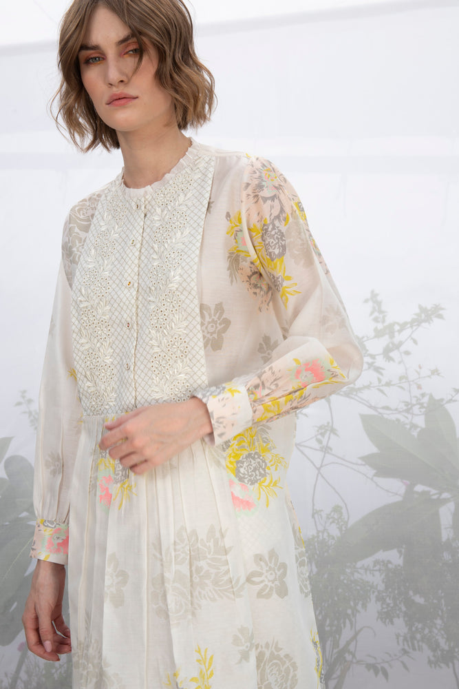 Ivory Shiffli Embroidered Yoke Tunic