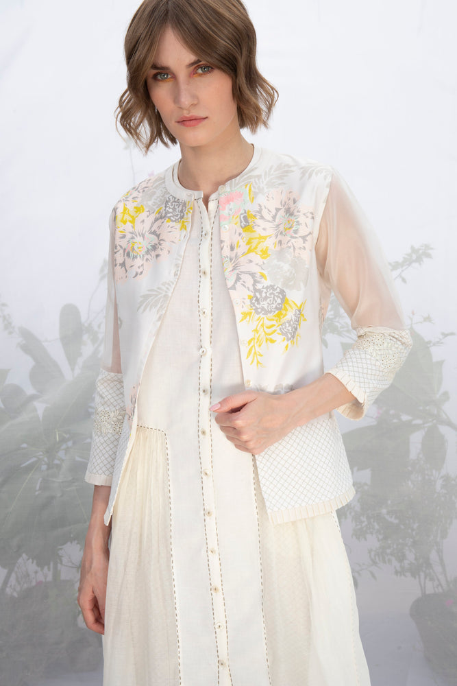 Ivory Roses Print Jacket With Embroidery