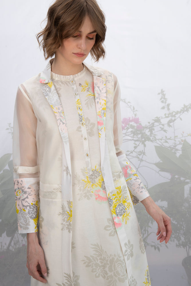 Ivory Roses Print Tunic With Jacket And Pants