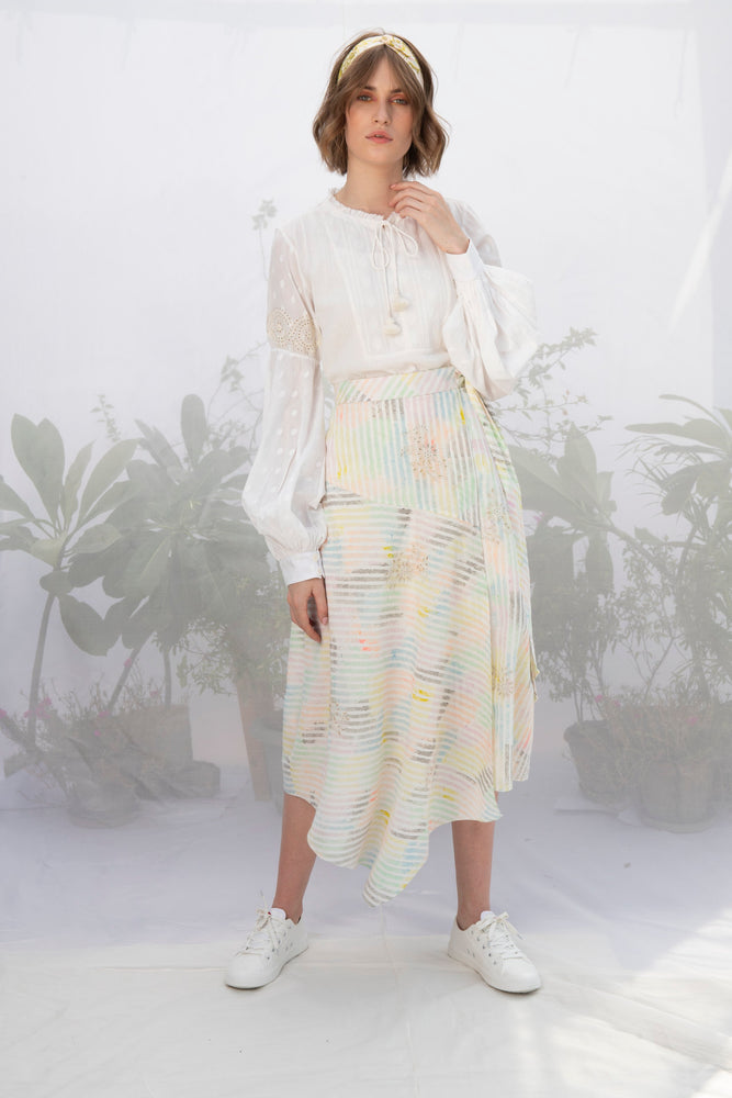 Ivory Cotton Top With Multi Stripe Wrap Skirt