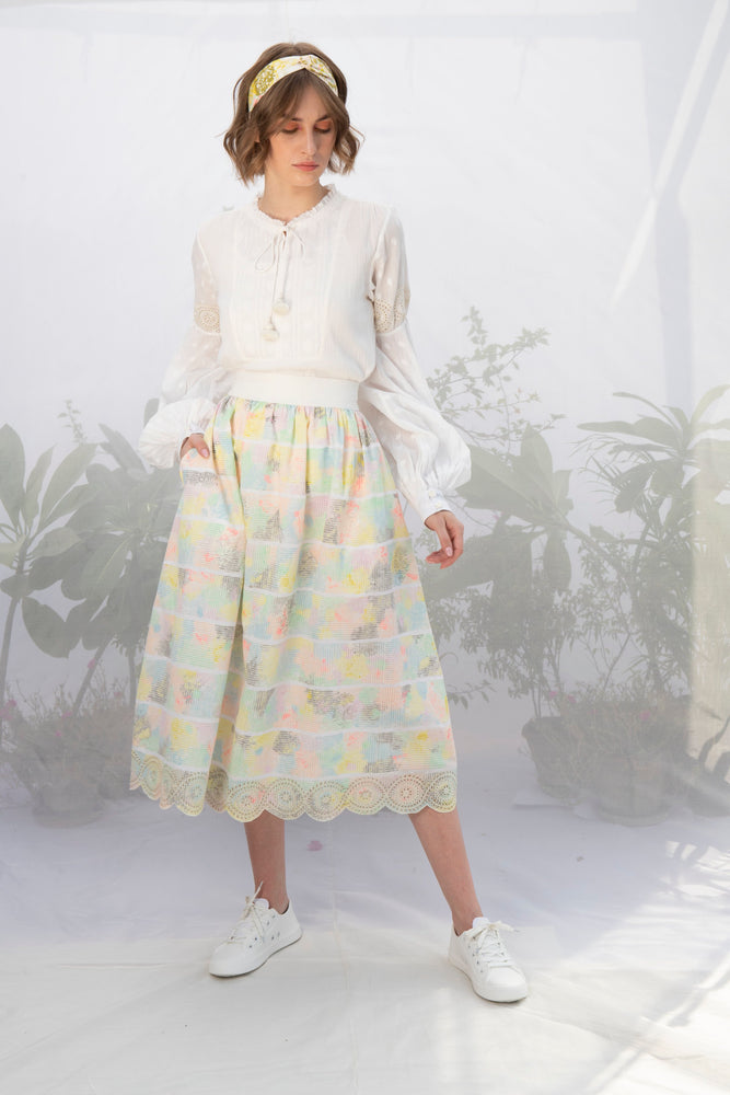 Ivory White Textured Cotton Top With Hand Block Printed Skirt