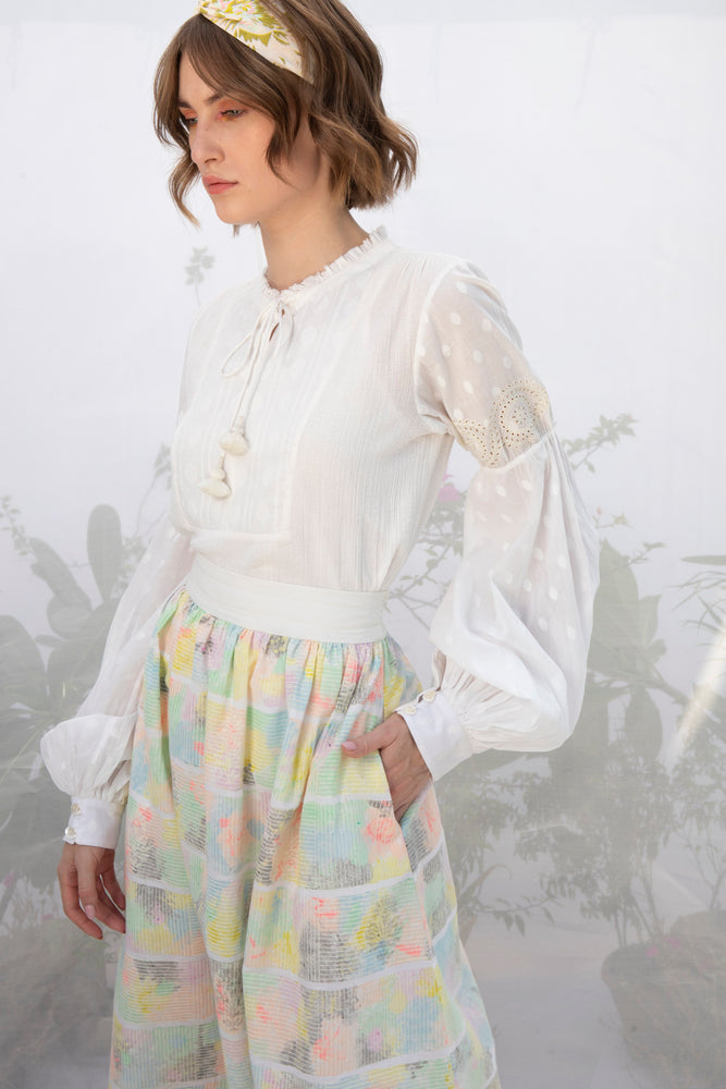 Ivory Hand Block Print Skirt With Embroidery