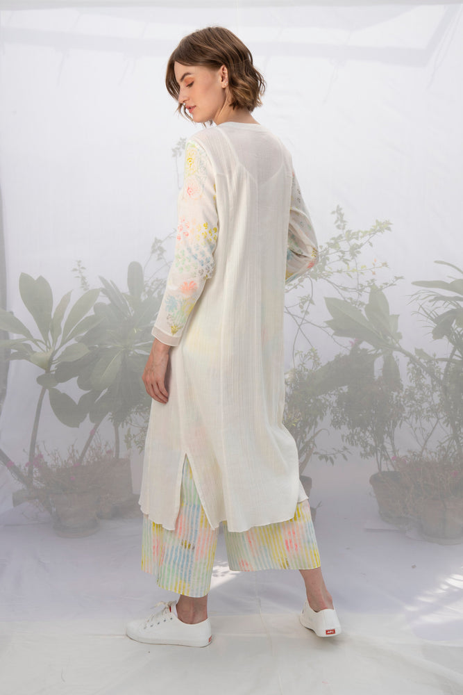Ivory Printed Sleeve Tunic With Multi Stripe Pants