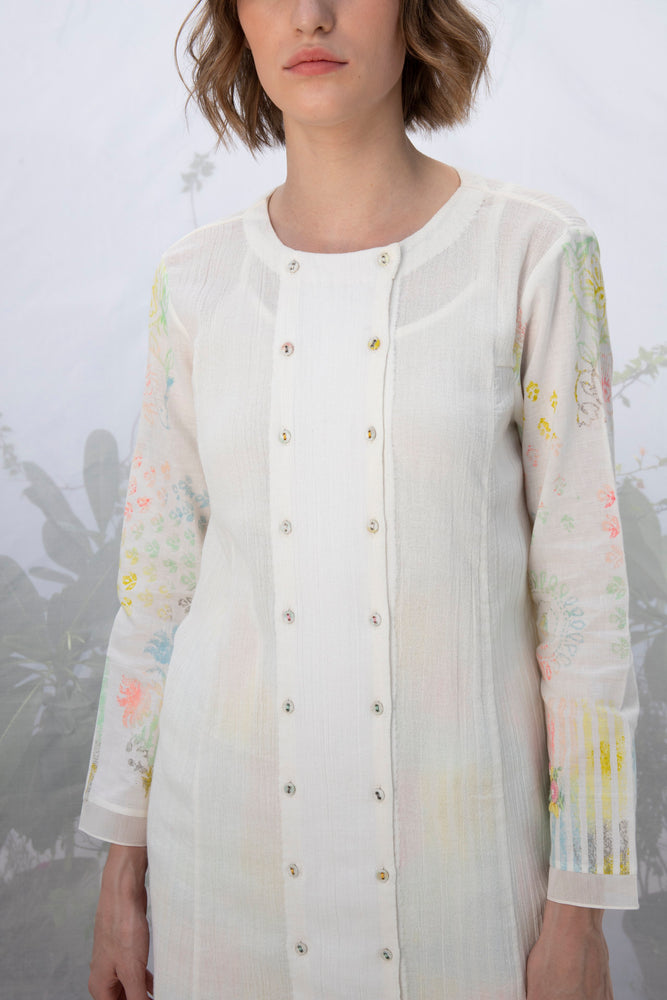 Ivory Printed Sleeve Tunic