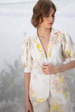 Roses Print Jacket With Voluminous Sleeves