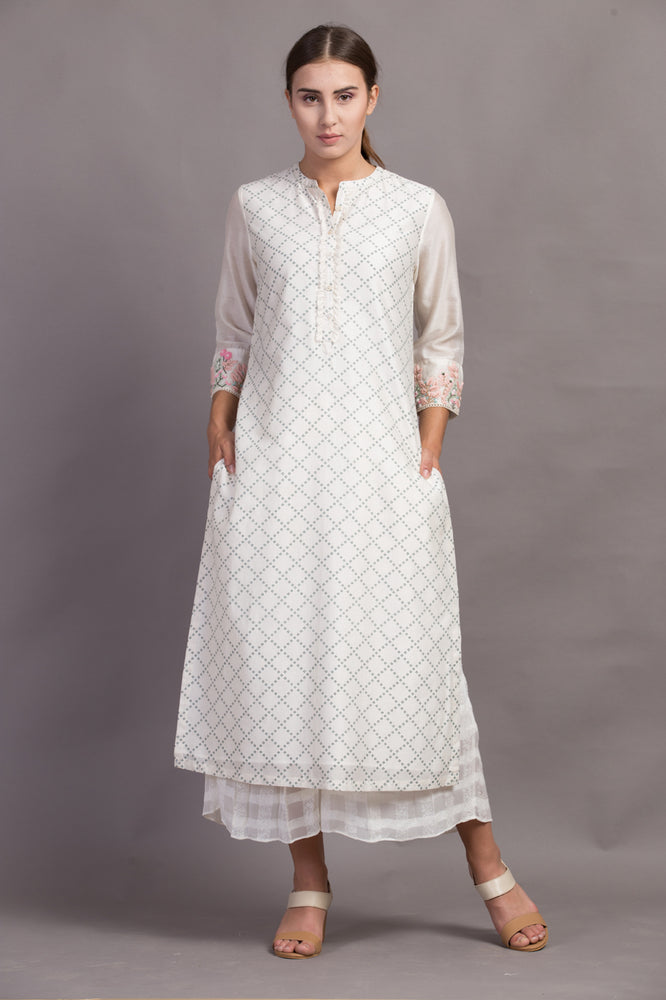Printed Tunic With Embroidered Sleeve