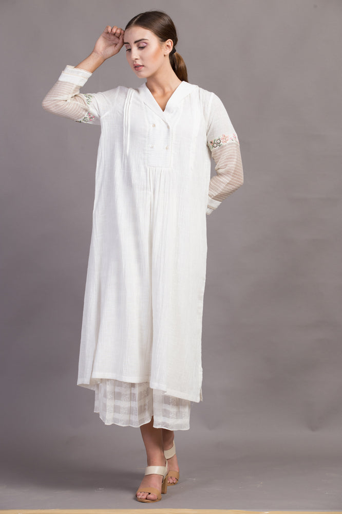 Ivory Corsage Sheer Sleeve Dress/tunic