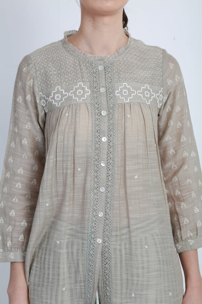 Grey Printed Top With Thread Embroidery