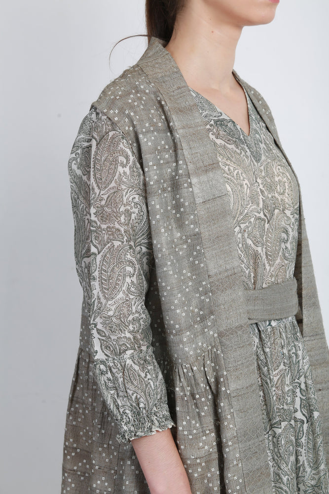 Grey Printed Tier Dress With Tussar Silk Overlay