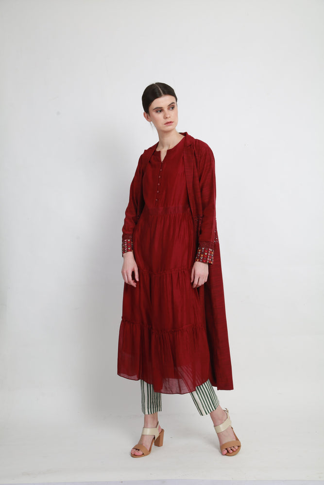 Beetroot tier tunic with jacket and pants