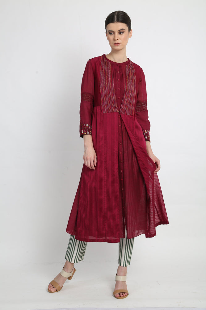 Beetroot Tunic With Jacket And Pants