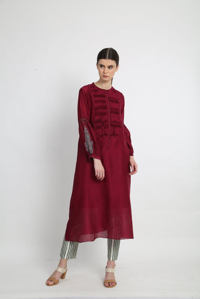 Beetroot smocking yoke tunic with pants