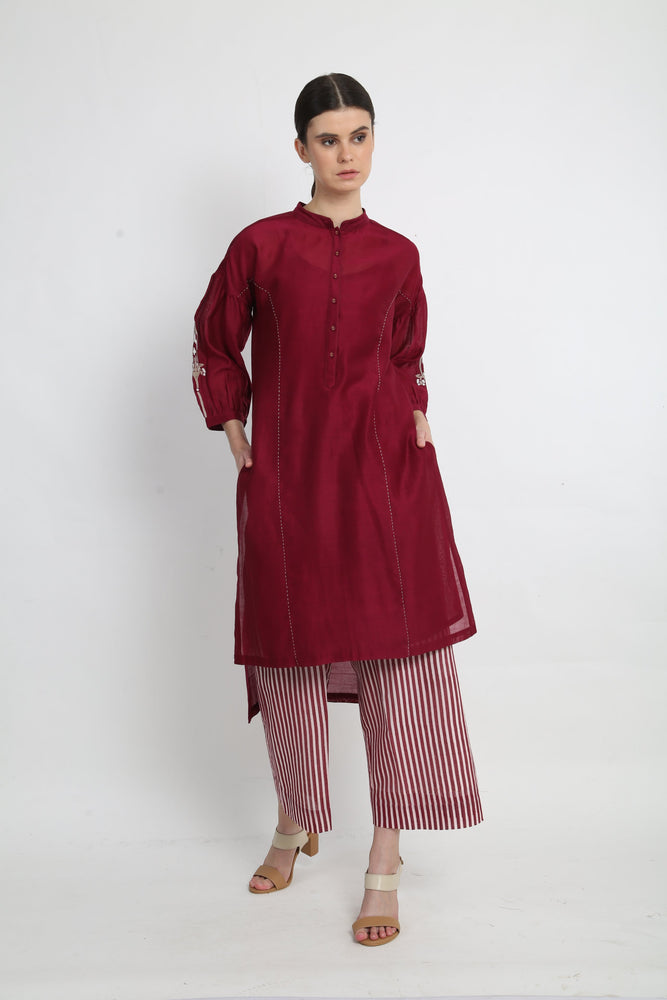Beetroot tunic with stripe pants