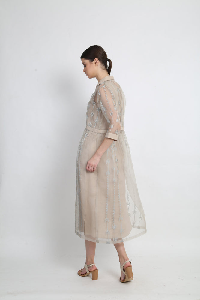 Grey Double Layer Organza Dress