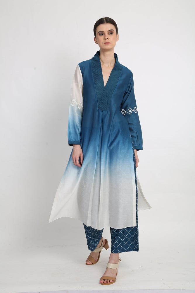 Blue Thread Embroidered Ombre Tunic With Pants