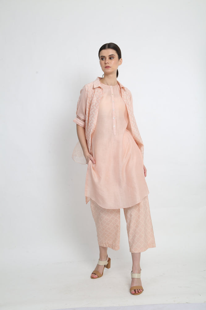 Peach Tunic With Short Jacket