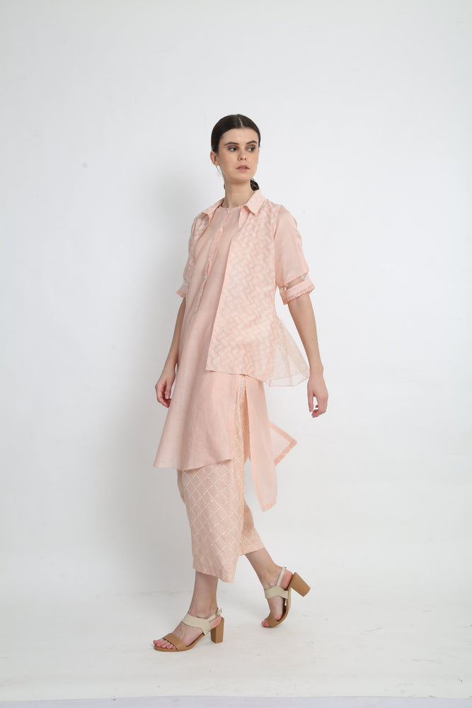 Peach Tunic With Short Jacket Paired With Pants