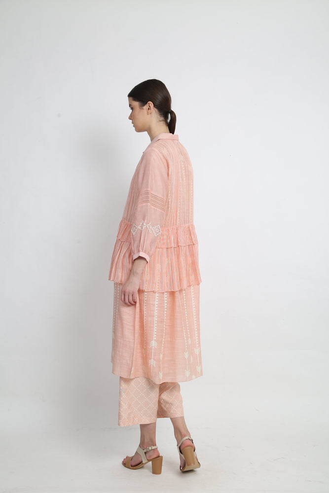 Peach Double Layer Tunic With Pants