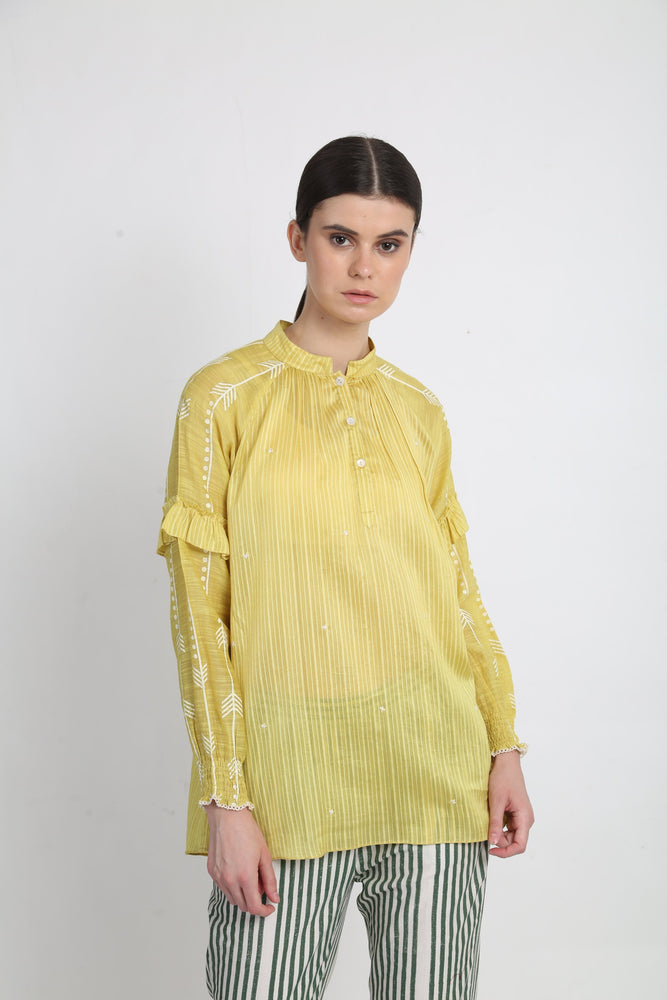 Lime Printed Top With Thread Embroidery Detail