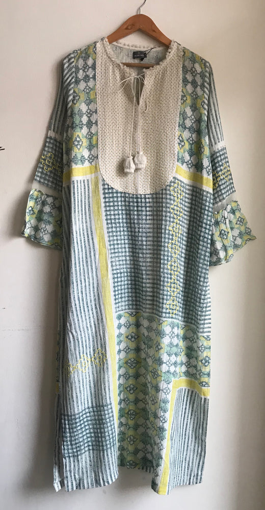 Hand Block Printed Tunic With Thread Embroidery