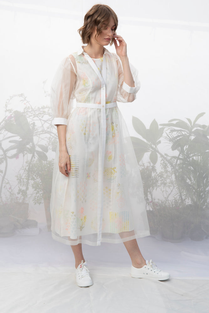 Ivory Hand Block Printed Double Layer Dress