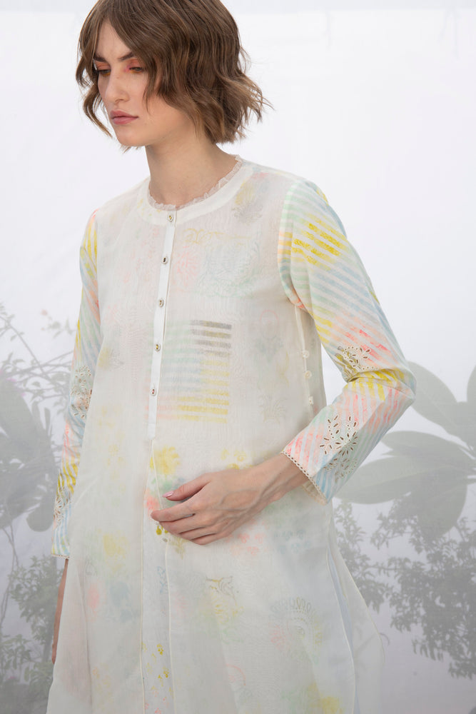 Ivory Double Layer Hand Block Printed Tunic With Pants