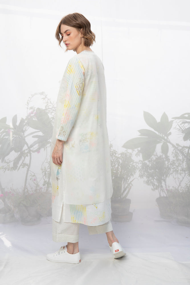 Ivory Double Layer Hand Block Printed Tunic