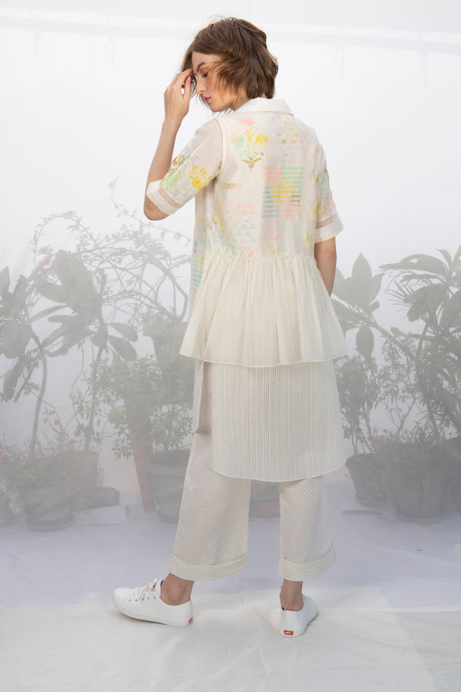 Ivory Tunic With Hand Block Printed Overlay And Pants