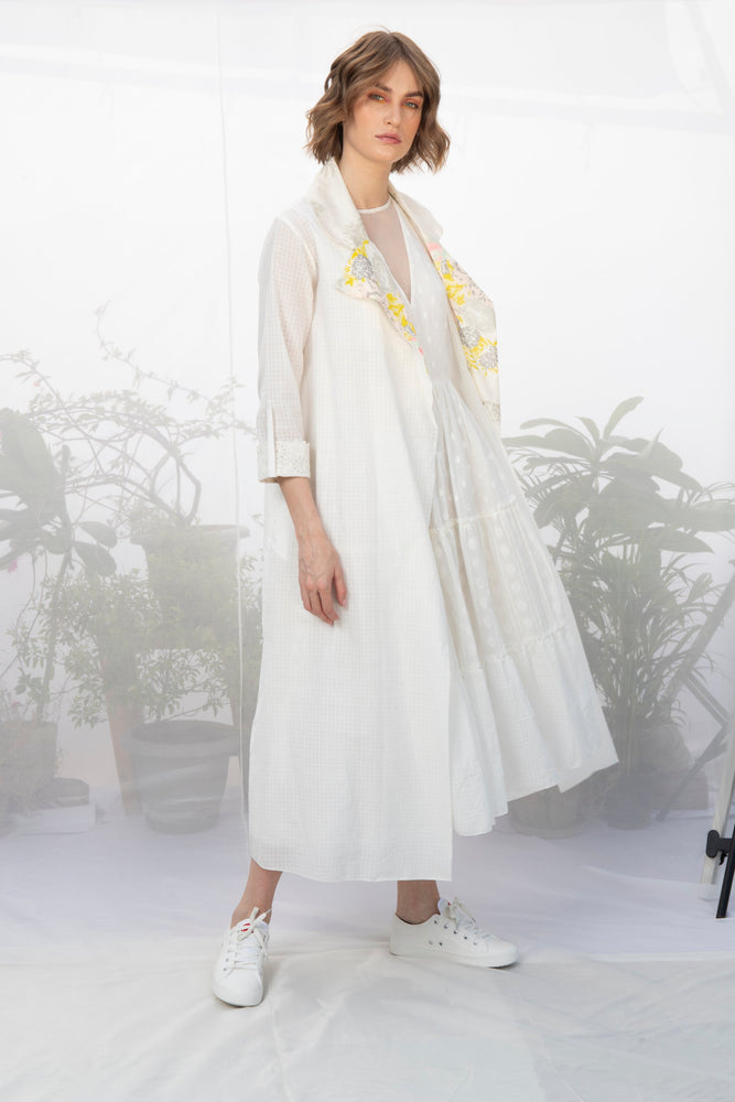Ivory Textured Khadi Cotton Jacket With Tiered Dress