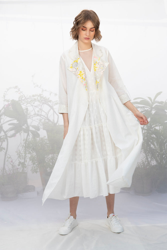 Ivory Textured Khadi Cotton Throw On With Embroidered Sleeve And Printed Collar
