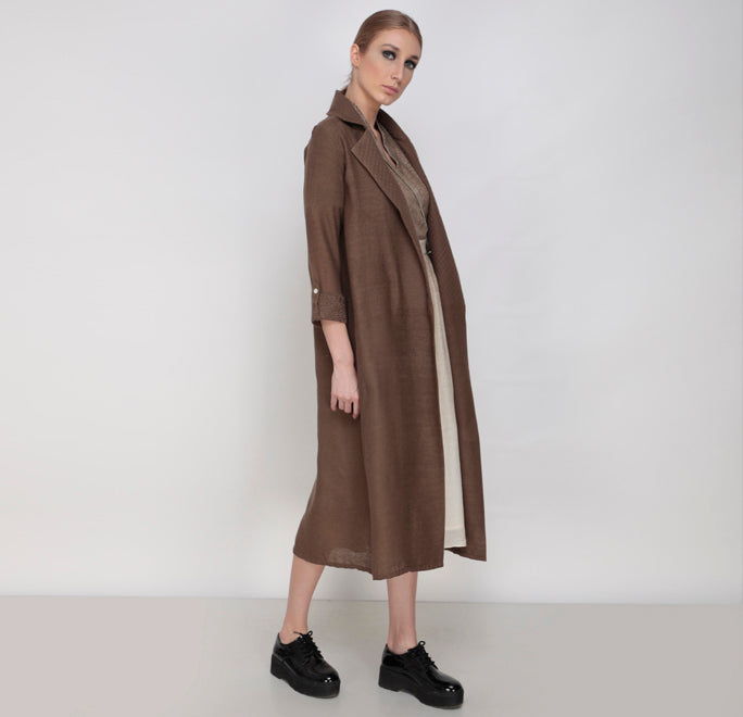 Brown Rays Overlap Collar Dress