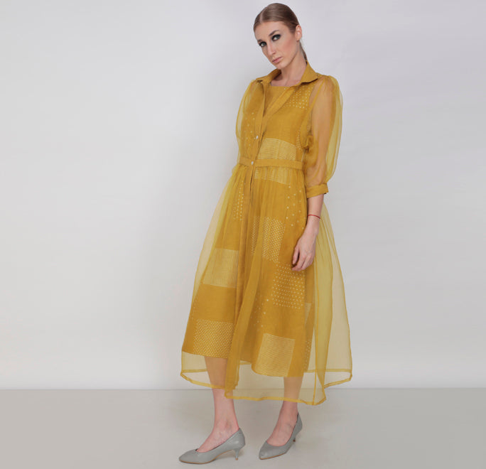 Chartreuse Nakshatra Double Layer Dress