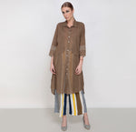 Brown Khadi Checks Tunic