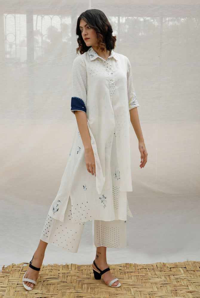Ivory With Indigo Print Double Layer Print Cotton Tunic