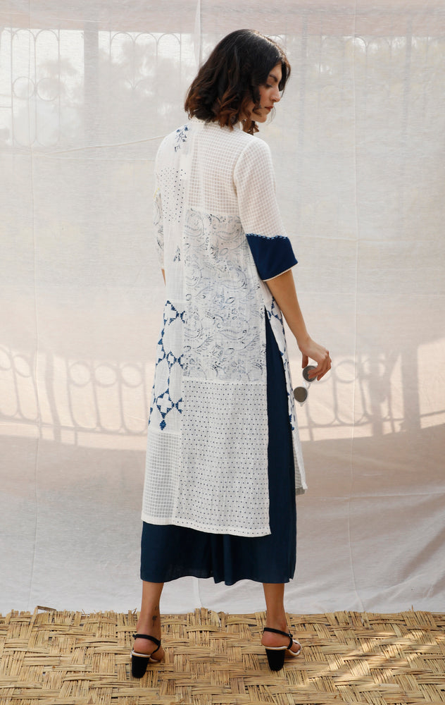 Ivory With Indigo Front Open Cotton Shirt Tunic