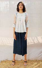 Ivory Front Pleated Printed Cotton Top with Indigo print