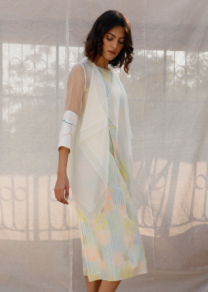 Multi Color Stripe Printed Linen Jumpsuit With Organza Throw On