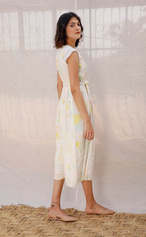 Ivory Printed Linen Jumpsuit