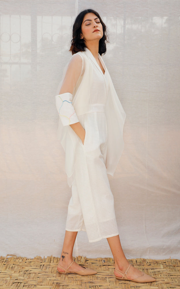 Ivory Asymmetric Organza Throw On With Embroidered Sleeve