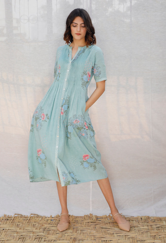 Mint Printed And Embroidered Linen Slip Dress