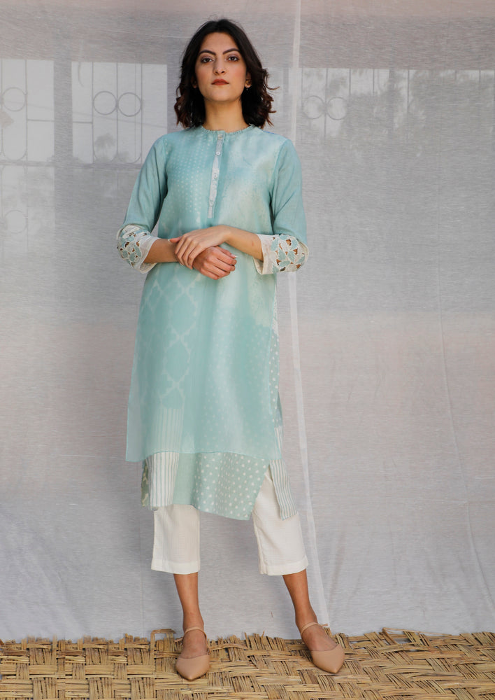 Mint Double Layer Tunic In Organza And Linen