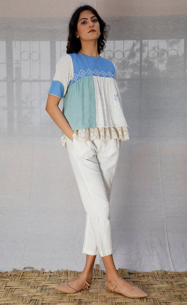 Multi Panelled Linen Top
