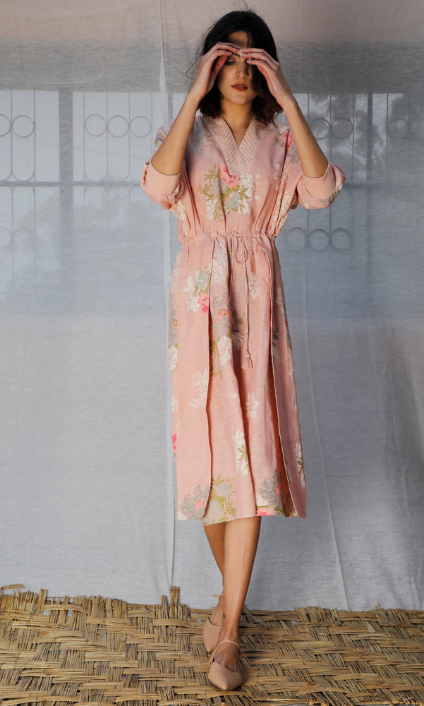 Roses Printed Linen Slip Dress