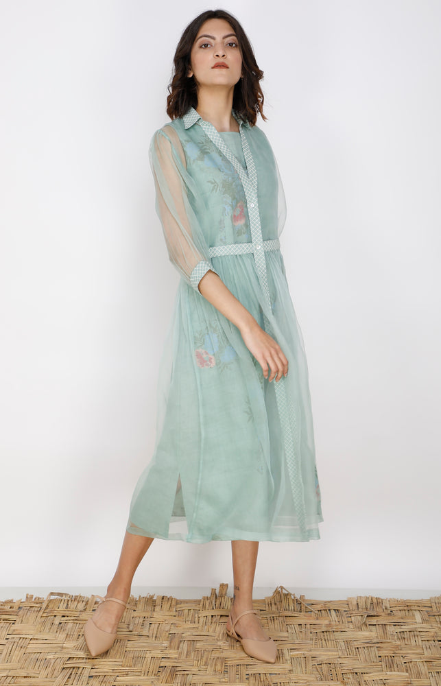 Mint Double Layer Organza And Linen Dress